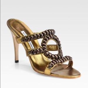 MANOLO BLAHNIK Bombi Bronze Beaded Heels